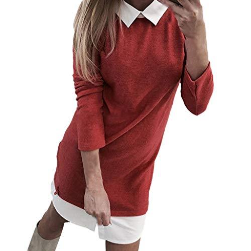 Sunhusing Women Girls Lapel Shirt Patchwork Casual Mini Dress Turn-Down Collar Long Sleeve Slim Fit Dress -