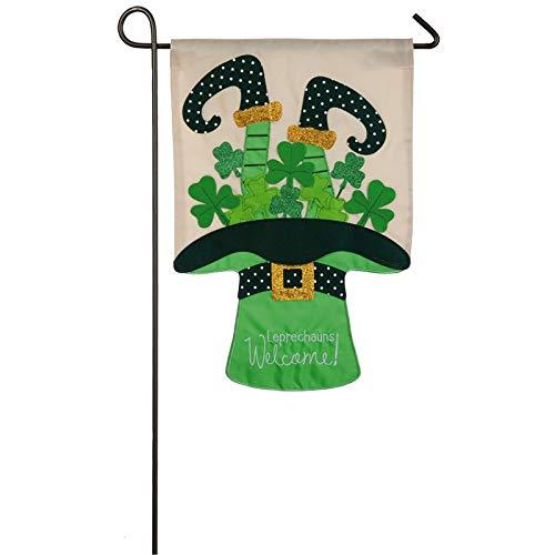 Evergreen Leprechauns Welcome Applique Garden Flag