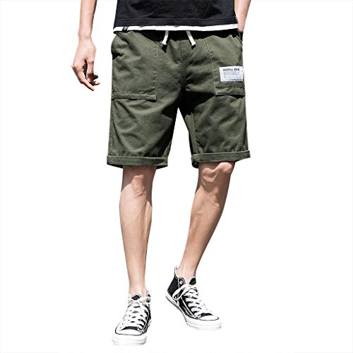 - Men's Summer Fashion Leisure Puper Color Overalls Multi-Pocket Trousers, Mmnote Army Green