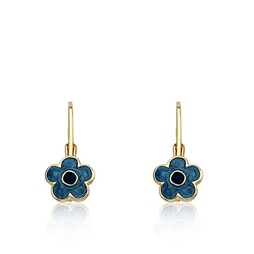 (LMTS Frosted Flowers 14k Gold-Plated Denim Blue Enamel Flower Leverback Earring Accented With Blue Center/Brass)