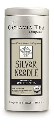 Octavia Tea Silver Needle (Organic White Tea) Loose Tea, 1.23-Ounce Tins (Pack of 2)
