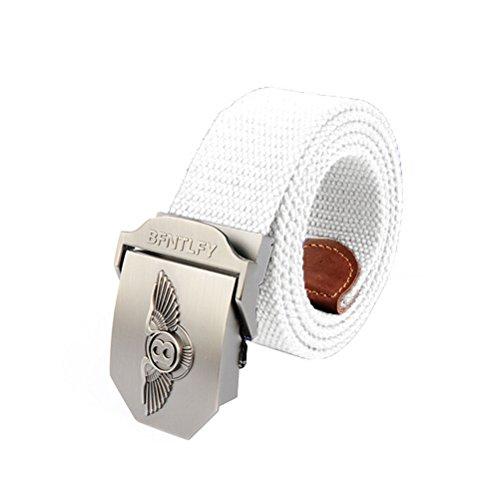 [Nanxson(TM) Men's Outdoor tactics Canvas eagle logo buckle Belt Leather Inlay PDM0006 (white)] (Logo Canvas Belt)