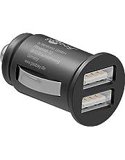 goobay 44177 2-poorts auto - 2,4 A autolader - min sigarettenaansteker dual USB-lader - geschikt voor auto's en vrachtwagens (12 V / 24 V),zwart