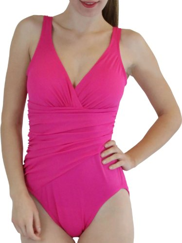 ToBeInStyle Women's One Piece V-Neck Draped Style Scoop Back Swimsuit Firm Control Padded Lined - Pink - 18