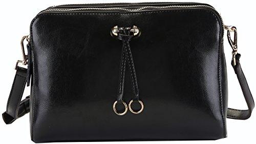 Heshe Ladies Women's Genuine Leather Candy Color Cross Body Shoulder Bag Satchel Handbag (Black)