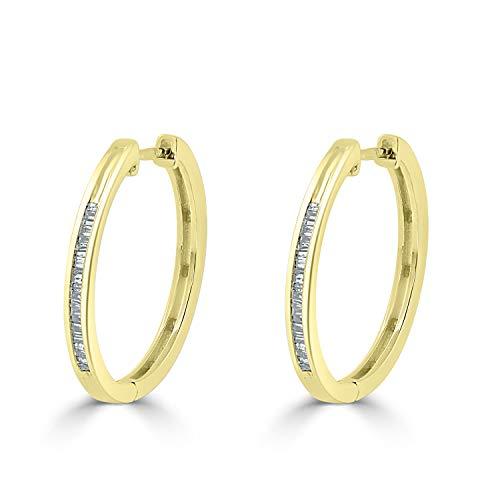 Diamond Wish 10K Yellow Gold Baguette Diamond Huggie Hoop Earrings (1/5 cttw, O.White, I2-I3)