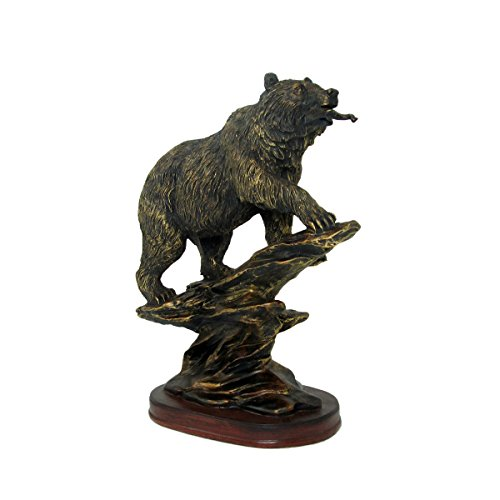 Bronzed Animal Collection Bear Eating Fish with Wooden Base Figurine