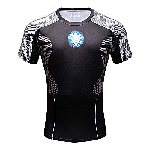CoolMore Super Hero Compression T Shirts Short Sleeve Tops Tee for Men for Sports Gym Runing Base Layer Wearing (Iron Man 1, XL) ()