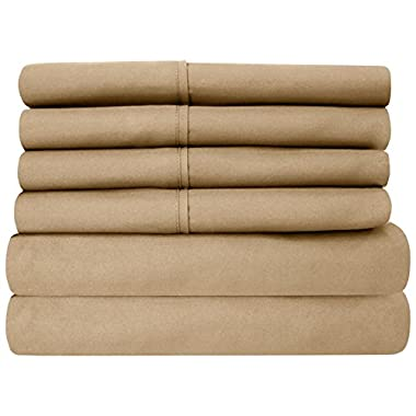 Sweet Home Collection 6 Piece 1500 Thread Count  Deep Pocket Bed Sheet Set, Queen, Taupe