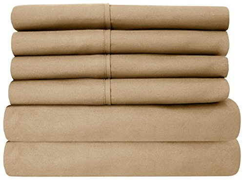 Sweet Home Collection 6 Piece 1500 Thread Count Egyptian Quality Deep Pocket (California King Linen Bed)