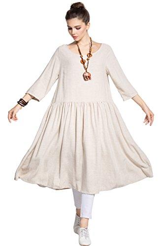 Linge Anysize Printemps Été Doux Et Robe De Coton Des Vêtements De Taille Y95 Beige