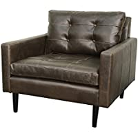 New Pacific Direct Ritchie Bonded Leather Arm Chair,Black Legs,Vintage Dark Brown
