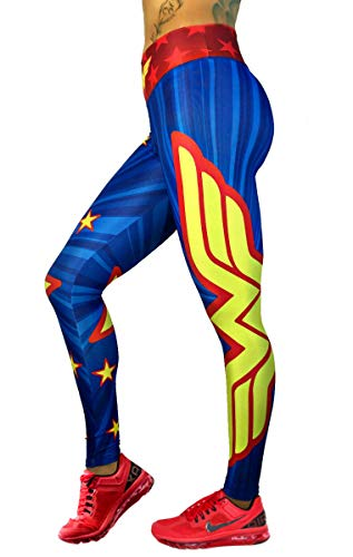 Wonder Woman Yellow Star Leggings Yoga Pants Compression Tights