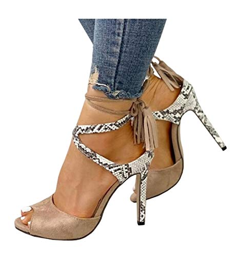 Womens Peep Toe Platform Stilettos Pumps High Heels Strappy Lace Up Dress Sandals Shoes
