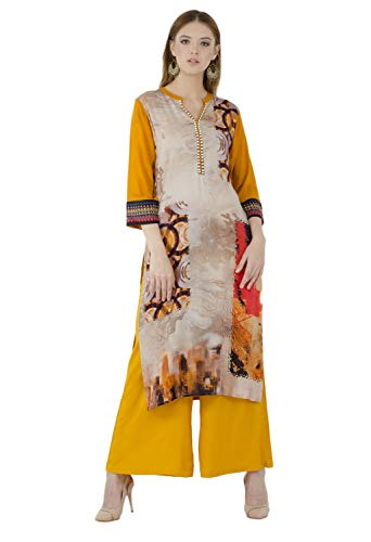 - Lagi Kurtis Ethnic Women Kurta Kurti Tunic DigitA Print Printed Straight A-line Top Dress Casua Wear New Launch (Mustard-2XL)