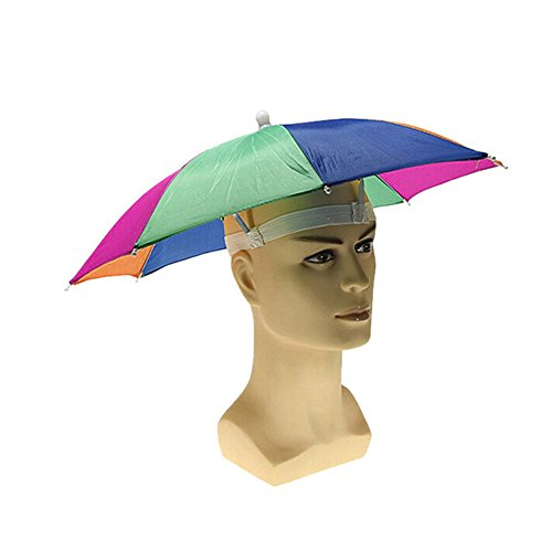 Odsports 2 Pieces Outdoor Large Camouflage Cycling Fishing Hiking Beach Camping Head Umbrella Women Men Kids 8Steel Rib Sun Rain Umbrellas Hat Cap Random Color (Halloween Costume Using Umbrella)
