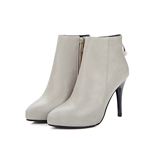 Pinker Leather Gray Ladies Imitated Stiletto Winkle Boots Glass Diamond 1TO9 xvd0nXpp