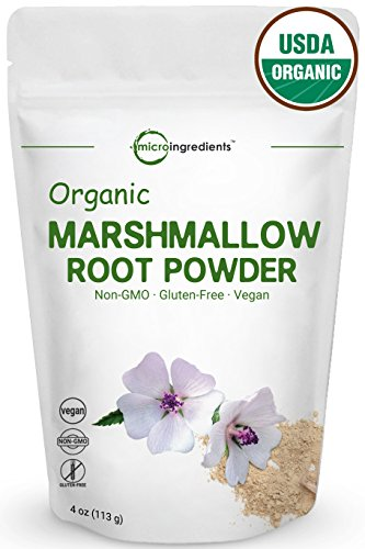 Pure USDA Organic Marshmallow Root Powder (4 Ounce), Supports Digestive Gastrointestinal Health, Non-Irradiated, Non-Contaminated and Non-GMO. Vegan Friendly.
