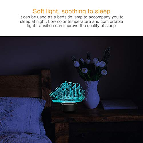 (BEUU 3D Lamp Desk, 3D Music Visualization 7 Colors Change Optical Illusion Led Touch Sensor Lamp Atmosphere Bedside Lamp for Home Décor,Children Friend Gift)