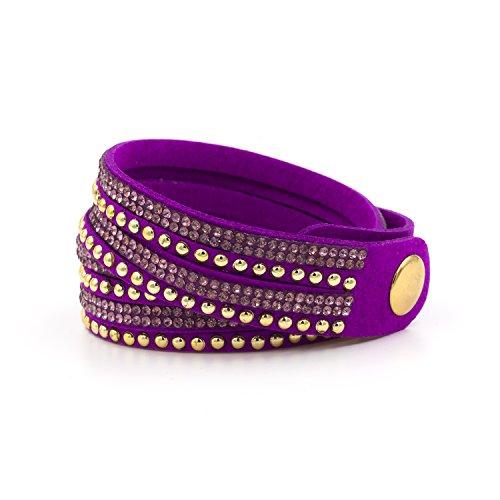 YOSHINE Fashion Leather Rhinestone Multilayer Bracelet Bangle,novelty Wrap Bracelets, Punk Folk Style Retro Bracelets,wide Leather Casual Adjustable Bracelet (Red 1)