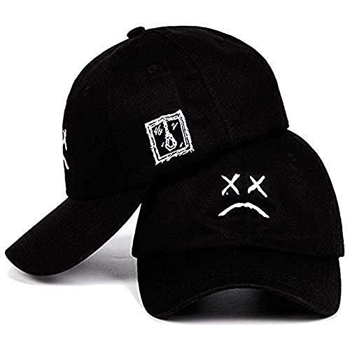 Home Fashion DIY Sad Boys Adjustable Hat Crying Face Embroidery Baseball Cap Dad Hat Hip Hop Cap Black (Black)