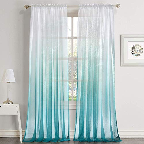 LoyoLady Private Custom Lake Blue Gradient Ombre Rod Pocket Voile Semi Sheer Curtains, Single Panel Sales