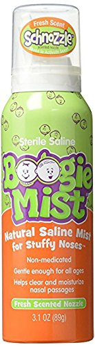 Boogie Mist Sterile Saline Nasal Spray for Baby and Kids Sensitive Noses Clear Congestion, Fresh Scent, 3.1 Ounce - Pack of 5 by Boogie Mist i