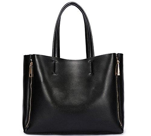 H.t Avel New Fashion Women's Genuine Leather Extra Large Tote Shoulder Bag Satchel Messenger Handbags (black) Bg0002fc