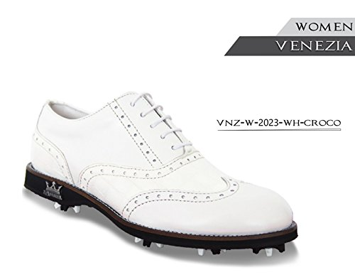 (LAMBDA GOLF Lady Shoes MOD. Venezia COL. White Croco (37))