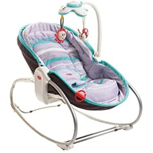 3-in-1 Turquoise Rocker Napper with Baby/parent-Activated Electronic Toy