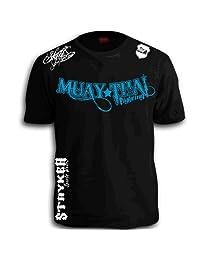 Muay Thai Fighting Blue White Logos Black MMA UFC Tapout Bjj T-shirt Brand New