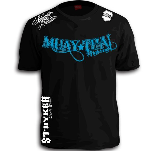 (Muay Thai Fighting Blue White Logos Black MMA UFC Tapout Bjj T-shirt Brand New (Large))