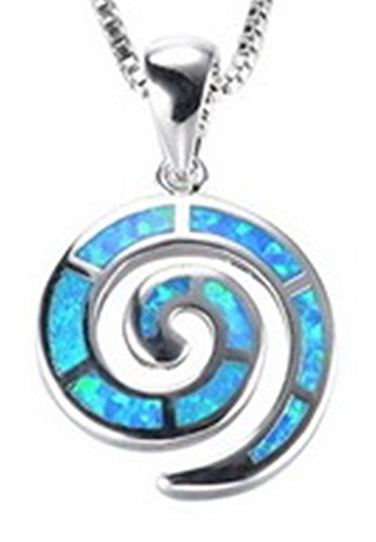 Medusa Makeup Ideas (Fortonatori Created Blue Opal Necklace Greek Key Spiral 925 Silver Pendant Necklace 17