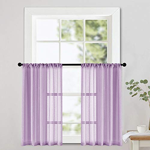 Window Lilac - MRTREES Sheer Tier Curtains 36 inch Length Lilac Kitchen Curtain Sheers Short Voile Small Window Curtain Panels Bathroom Rod Pocket Light Filtering Light Purple 2 Panels