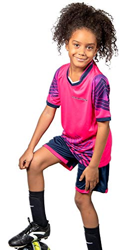 Soccer Jerseys for Kids Boys and Girls Shorts and T-Shirts Sports Wear Set (Small, Pink)