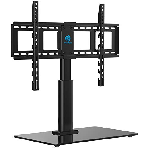 HUANUO HN-TVS02 Tabletop Swivel TV Stand Fits 32 to 60 LCD LED Inch Television with Heavy-Duty Tempered Glass Base, 4 Level Height Adjustments, VESA Compatible up to 600x400 ()