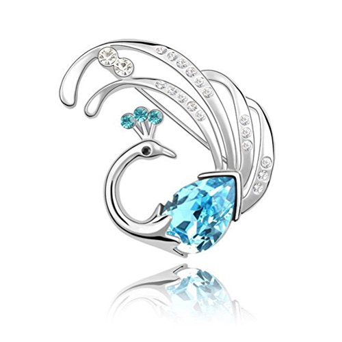 Isijie jewelry Elegant Peacock Princess Pin Blue Brooch Women Gilrs,Silver Plated,Aqua Blue Crystal ()