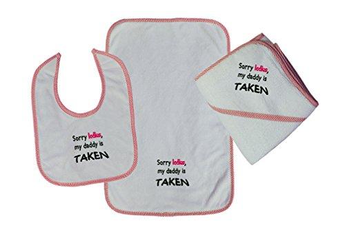 Cute Rascals Sorry Ladies, My Daddy Is Taken Baby Kid Bib-Burb-Towel Set Red