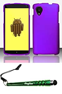 FoxyCase(TM) FREE stylus AND For LG Google Nexus 5 D820 - Rubberized Case Cover Protector Purple RP Desire Safe Phone cas couverture