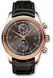 IWC Portuguese Chronograph Classic Gray Dial Leather Strap Automatic Mens Watch IW390405