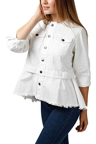 Central Park West - Women's Chuparosa Collarless Peplum Denim Jacket - White - L
