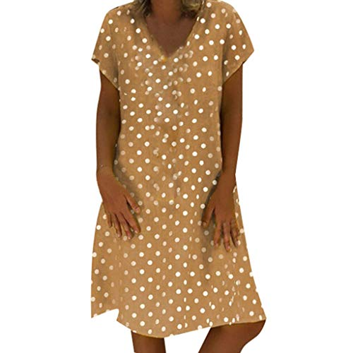 Sunmoot Plus Size Beach Dress for Women Summer Casual Loose Polka Dots Peasant Dresses Ladies V-Neck Shift Midi Dress ()
