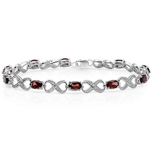 5.47 Carat (ctw) Sterling Silver Real Oval Cut Garnet & Round Cut White Diamond Infinity Link Bracelet by DazzlingRock Collection