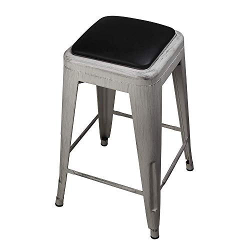 GIA 24-Inch Backless Stool with Faux Leather Seat, Antique White/Black, 4-Pack
