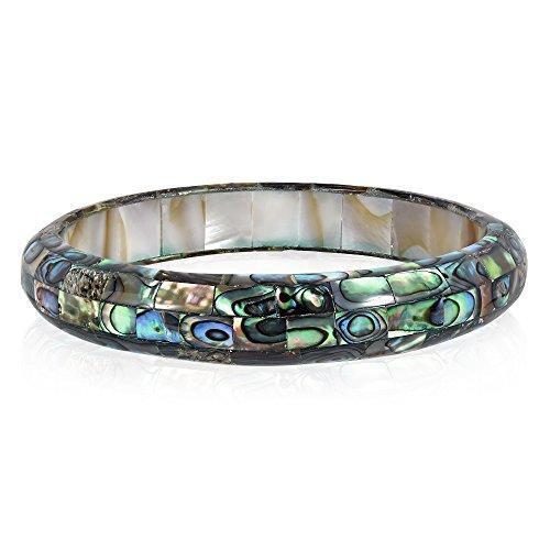 AeraVida Exquisite Abalone Shell Mosaic Bangle Bracelet