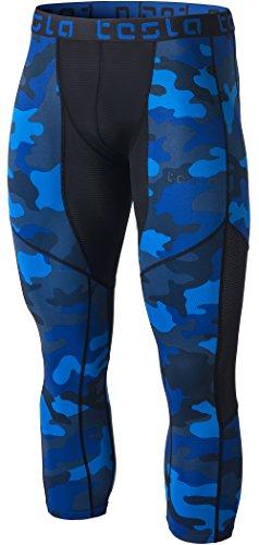 TSLA Mens Mesh-Panel Compression 3/4 Capri Pants Baselayer Cool Dry Sports Running Yoga Tights, Mesh(muc78) - Camo Blue, Medium.