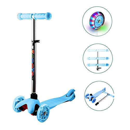 OppsDecor 3 Wheel Scooter for Kids, Mini Kick Scooters Push Scooter Adjustable Height with Light Up Wheels, Gifts for Toddler Children Boys Girls Age 2 to 6 (Blue)
