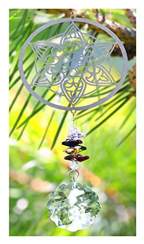 H&D Handmade Crystal Suncatcher Rainbow Maker Hanging Crystal Ornament for Window Home Decoration - Mandala Flower Design