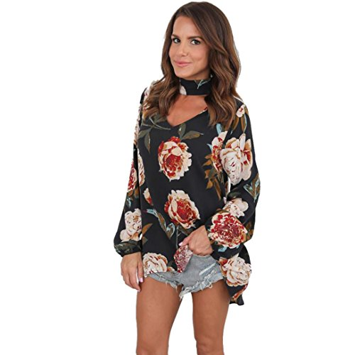 (TM) Women Choker V Neck Long Sleeve Floral T-Shirt Casual Blouse Chiffon Tops (L, - Clearance Burberry
