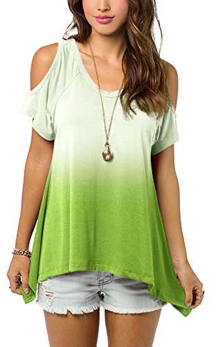 Urban CoCo Women's Shoulder Off Gradient Color Tunic Top Shirt (Small,...